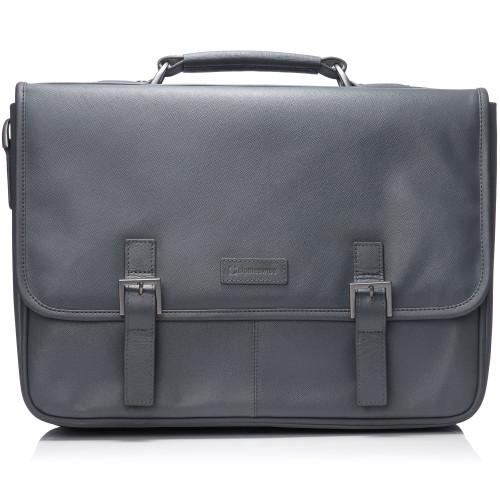 "3c3720023 Alpine Swiss Genuine Leather 15.6"" Laptop Briefcase Flap Over Messenger Bag"