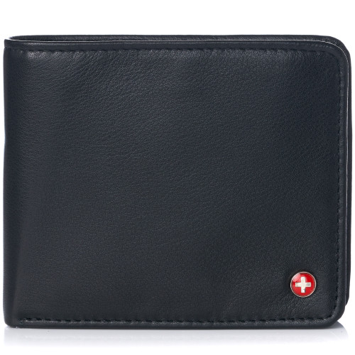 Alpine Swiss RFID Protected Men's Max Coin Pocket Bifold Wallet with Divided Bill Section