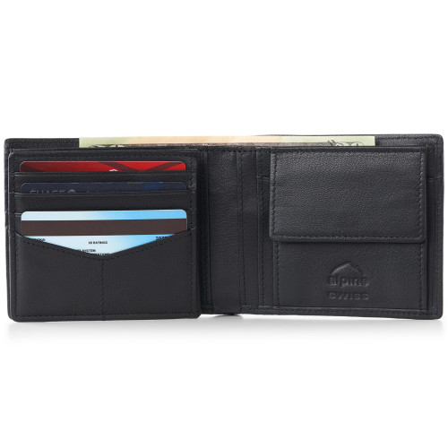 Alpine Swiss RFID Mens Wallet Deluxe Capacity Coin Pocket Bifold With Divided Bill Section