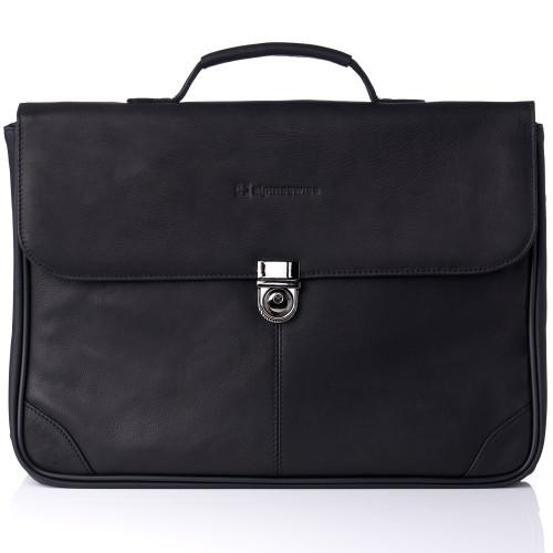 Alpine Swiss Business Portfolio Genuine Leather Briefcase Flap-Over Locking Case
