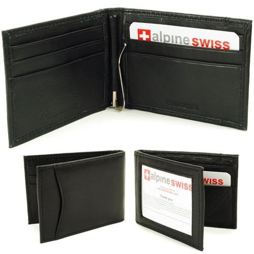 Alpine Swiss Mens Genuine Leather Spring Loaded Bifold Money Clip Wallet
