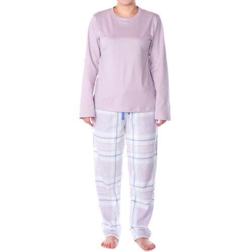 Alpine Swiss Womens Pajama Set Long Sleeve Shirt and Polar Fleece Pants Sleepwear