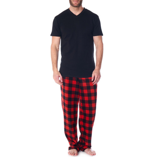 Alpine Swiss Mens Pajama Set Cotton Shirt and Polar Fleece Pants with Pockets