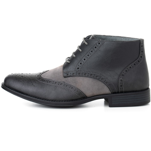 4c4016fe378 Alpine Swiss Geneva Mens Ankle Boots Lace Up TwoTone Brogue Wing Tip Dress  Shoes