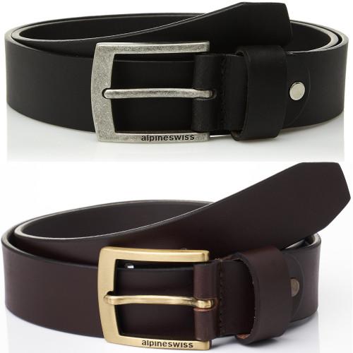 "Alpine Swiss Mens Belt Genuine Leather Slim 1 1/4"" Casual Jean Belt Dakota Signature Buckle"