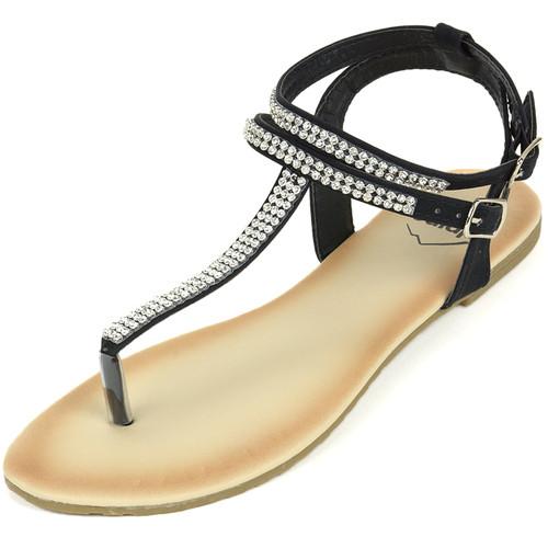 Alpine Swiss Womens Slingback T-Strap Rhinestone Ankle Strap Thong Sandals