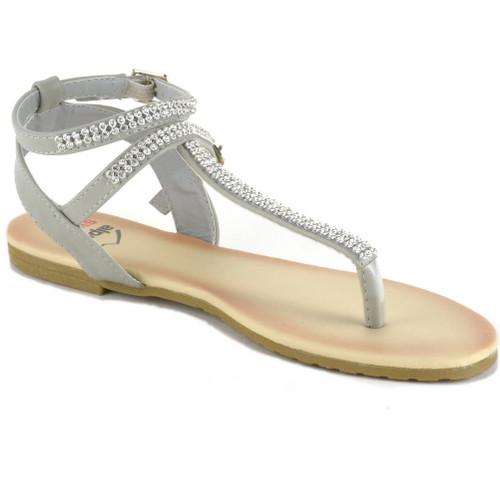 f3c989e99 Alpine Swiss Womens Slingback T-Strap Rhinestone Ankle Strap Thong Sandals