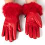 Alpine Swiss Womens Leather Dressy Gloves Rabbit Fur Trim Cuff Thermal Lining
