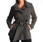 Alpine Swiss Bella Womens Wool Coat Button Up Jacket Belted Blazer