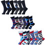Alpine Swiss Mens Cotton 18 Pack Dress Socks Solid Ribbed Argyle Shoe Size 6-12