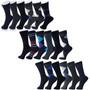Alpine Swiss Mens Cotton 18 Pack Dress Socks Solid Ribbed Argyle Shoe Size 6-12