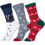 Holiday Cotton Socks 3 Pack Christmas Gift Bow Wrapped Rudolf Raindeer Snowflake