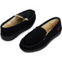 Alpine Swiss Yukon Mens Genuine Suede Shearling Slip On Moccasin Slippers