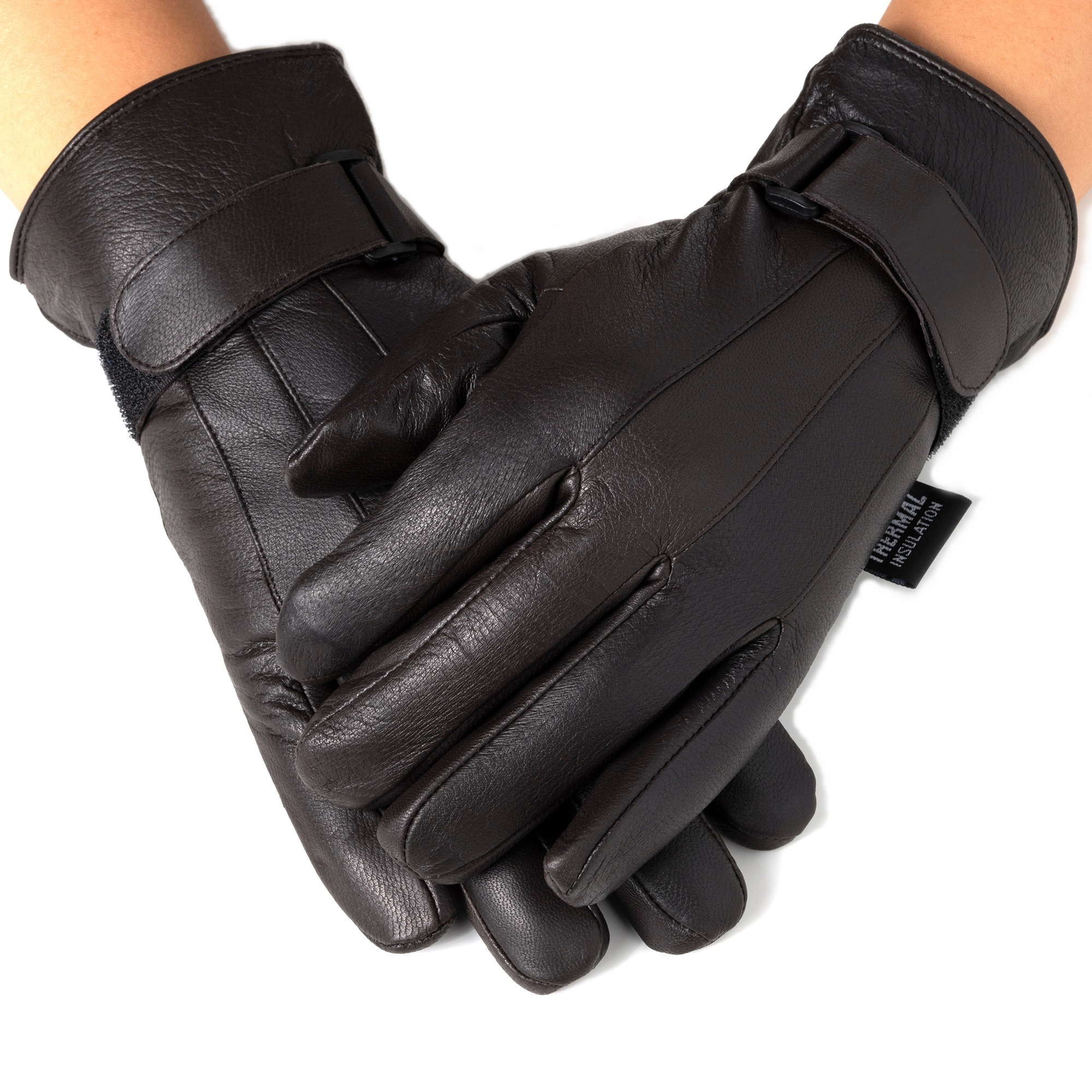 Solid Winter Genuine Leather Women Gloves With Zipper Warm Thermal Black Gloves