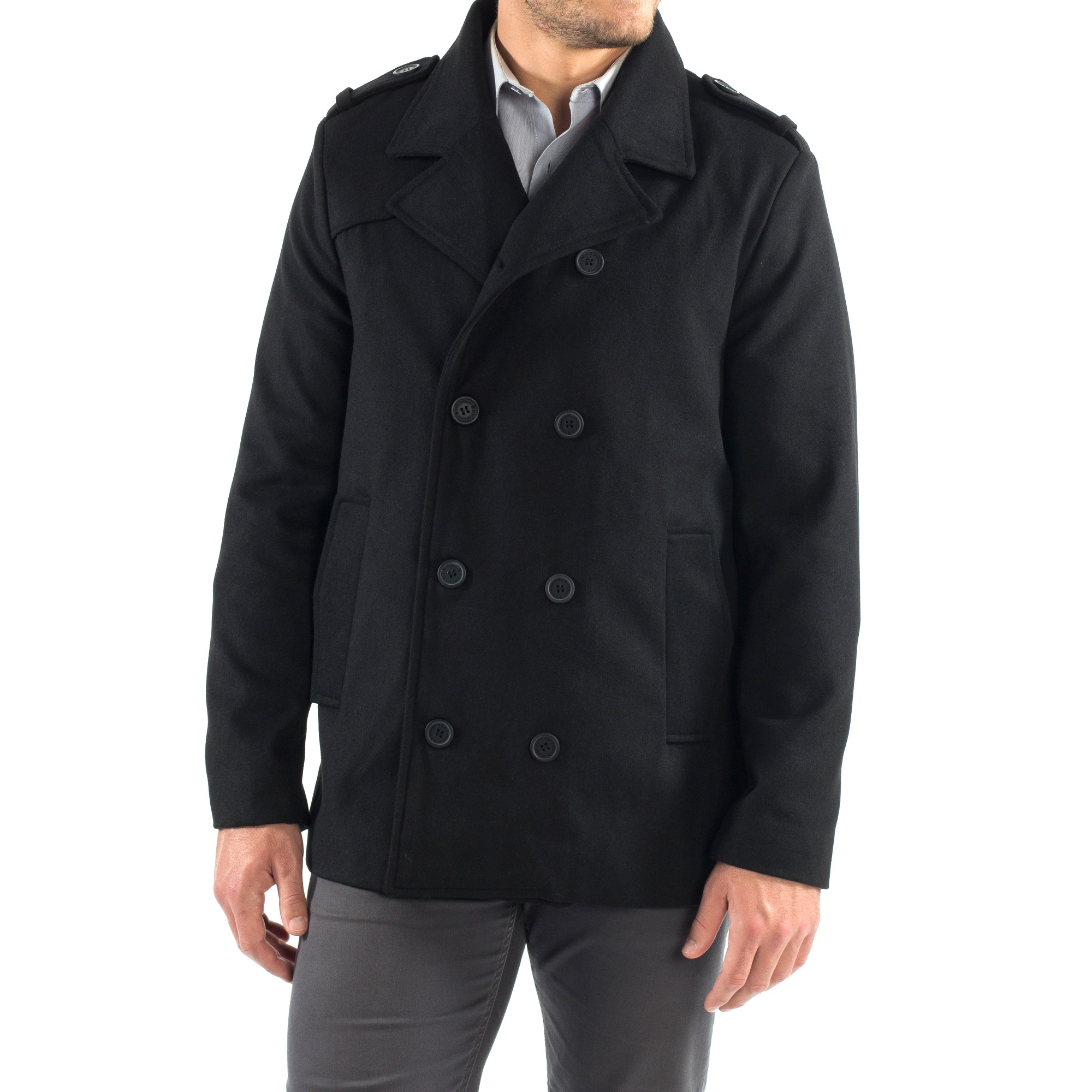 c0b1e94f3 Alpine Swiss Jake Mens Wool Pea Coat Double Breasted Jacket