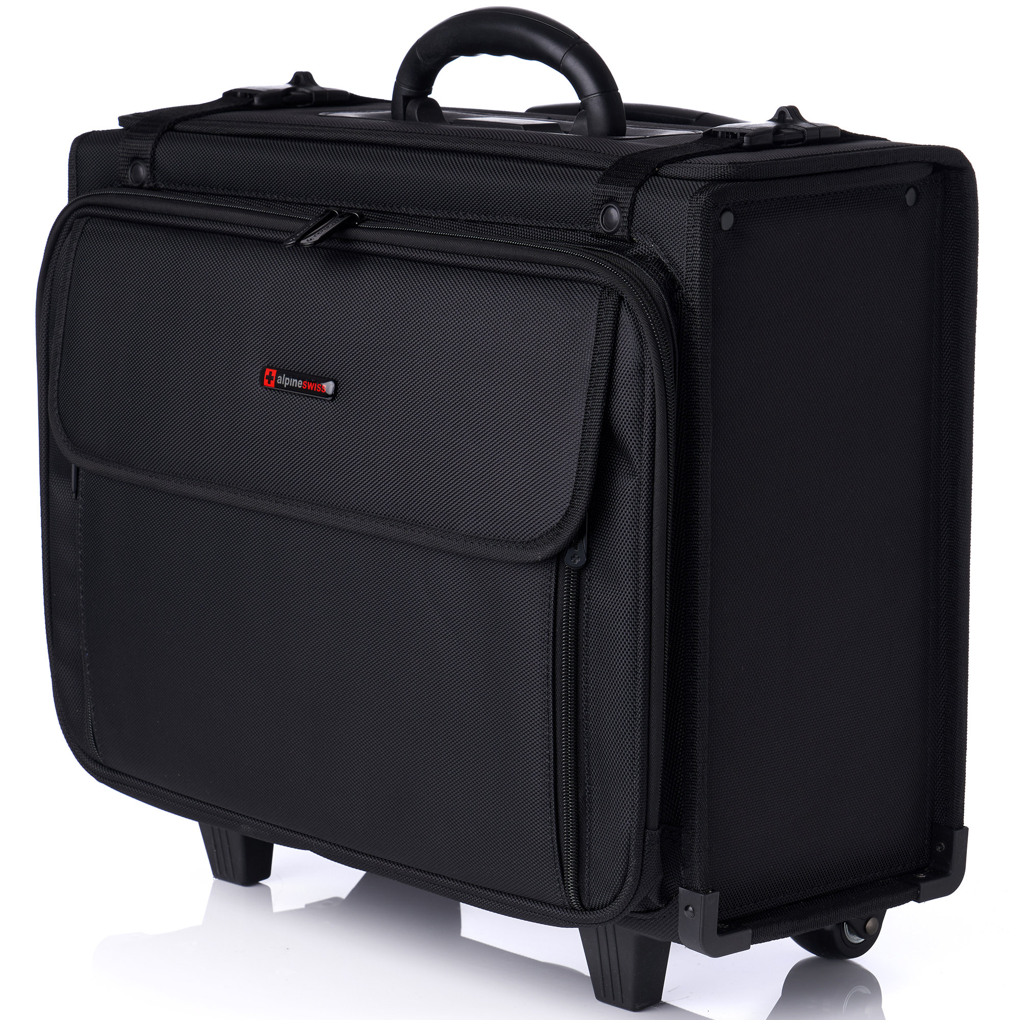 """17/"""" Rolling Laptop Case Wheeled Briefcase For Women Business Carry On Bag Black"""