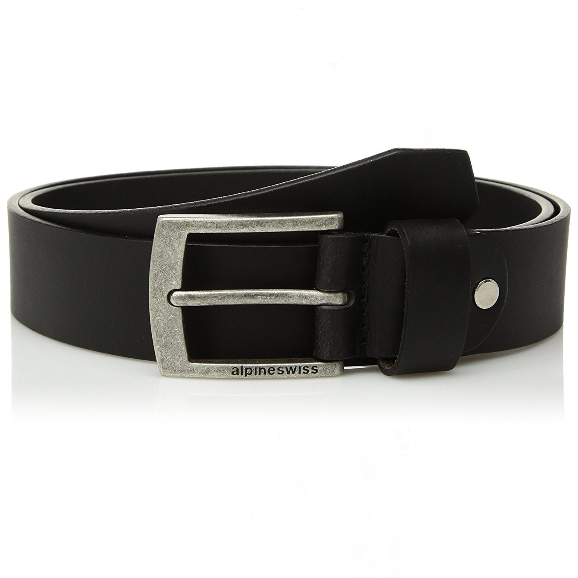 "7275ac643 Alpine Swiss Mens Leather Belt Slim 1 1/4"" Casual Jean Dakota Signature  Buckle"