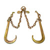 This ECTTS brand low profile bridle is made with 2 sections of 5/16 in. transport chain that are 2 ft long connected to a pear link in the center. Each assembly has an 15 in. grade 70 forged J and T hook. The entire assembly is zinc coated to prevent corrosion.