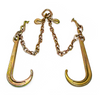 """All our assemblies are made out of Grade 70 Domestic 5/16"""" Transport Chain. Our hooks are forged, heat treated steel and the entire V-chain is zinc plated. All of our v-chains have grab hooks on pear links for adjustment."""