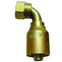 Crimp hose fitting elbow style will connect to a tube adapter. Steel made and coated with zinc plating to stop rust. 13943-6-6,PAR,Parker
