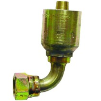 """Seal LOK 90* Swivel 6-6 This fitting is made to be crimped. Fits 3/8"""" or #6 double braided steel hydraulic hose. Also known as an o-ring face seal fitting. It is zinc plated to prevent rust. 1J943-6-6,PAR,Parker"""