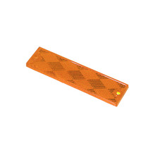 Improve safety during night and low-visibility conditions with this Grote Reflector Stick-On. Its size is ideal for narrow spaces, and its firm-stick backing and optional mounts for two #8 screws ensure a long-lasting hold. The amber color of this acrylic piece works well alone or paired with other red or yellow reflectors.