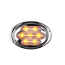 Stylish and functional, these Maxxima Mini Chrome Oval Clearance Markers are perfect for ambient lighting in sleeper cabs and as external accessory lights. The 7 amber-colored LEDs only draw 40 milliamps of power and feature voltage spike protection.  - Width: 3 in.  - Surface mount | OEM Part Number: M36180Y