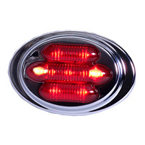 Equip your sleeper cab with this red Maxxima Mini Chrome Oval Clearance Marker. Seven LED's maximizes visibility, and its bezel is made from stainless steel for durability.  - 100,000 hour LED life
