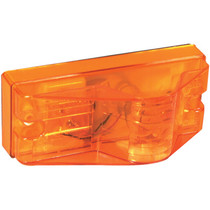 "This Truck-Lite Midpoint Side Turn Signal is durably constructed and easy to mount with a simple L bracket and two screws. Both the housing and lens material for this 12-volt amber incandescent light are made with polycarbonate material.  - Size: 2"" x 6"" 