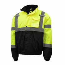 Lime Bomber Jacket, Waterproof w/Liner Great Winter jacket!  A quilted polyester lining provides added warmth for winter outdoor workers.  Several pockets provide ample personal storage 8001-L,GSS,GSS Safety