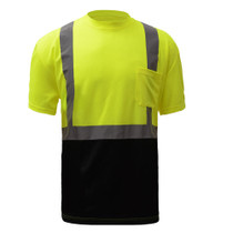 Class 2 (Black Bottom) Short Sleeve T-shirt Made from breathable and moisture wicking Birdseye polyester mesh, which helps regulate the body temperature of workers and reduces static electricity. Includes one left front chest pocket.