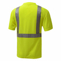 Class 2 (Black Bottom) Short Sleeve T-ShClass 2 (Black Bottom) Short Sleeve T-shirt Made from breathable and moisture wicking Birdseye polyester mesh, which helps regulate the body temperature of workers and reduces static electricity. Includes one left front chest pocket. irt