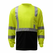 "Class 3 (Black Bottom) Long Sleeve T-Shirt Lime Color with Black Bottom ANSI / Class 3 / Class 3 T-Shirts / Leaders / Long Sleeve / Safety T-Shirts / Standard / Two Tone Birdseye Microfiber Breathable and Moisture Wicking, Polyester Mesh to Keep Cool 2"" S"