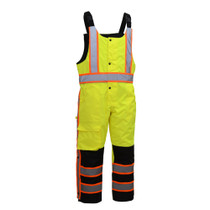 """Heavy Weight Safety Insulated Winter Bibs Lime Color 300 Oxford w/PU coating, poly filled insulation for winter 2"""" silver reflective tape w/contrasting trim Black Ripstop Fabric to provide extra protection for garment Elasticized back wasit for snug fit M"""