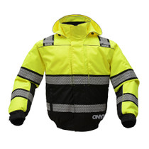 ONYX 3-IN-1 Winter Bomber Jacket Lime Color, Black Bottom ANSI / Class 2 / Leaders / ONYX / Premium / Safety Winter Jacket / Teflon / Two Tone / Waterproof / Zipper Outer Jacket: 300D Rip Stop Polyester Oxford Fabric with PU Coating, Poly filled quilted l