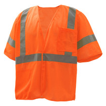 Class 3 Mesh Hook & Loop Vest with Sleeves, Orange