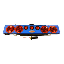 "Blue 36"" wireless truck bar system provides stop, tail, and turn w/ side marker lights on each end and three DOT lights in the center of the bar. This system comes complete with your choice of transmitter and a 7-pin plug to be used to connect 12VDC power"