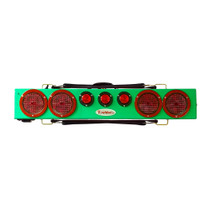 "This image typical of the Green 36"" wireless truck bar system provides stop, tail, and turn w/ side marker lights on each end and three DOT lights in the center of the bar. This system comes complete with your choice of transmitter and a 7-pin plug to be used to connect 12VDC power to recharge the truck bar. Range 1000 feet."