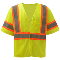 "Standard Class 3 Two Tone Mesh Hook & Loop Safety Vest Lime  GSS | OEM Part Number:2007 Hook & Loop Closure 2"" Silver Reflective Tape with Contrasting Trim 100% Polyester Mesh Material One Left Chest 2-tier & 4-division pocket, One Lower Right Inside Pocket Certification: ANSI/ISEA 107-2015"