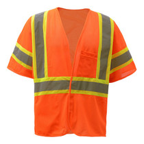 "Standard Class 3 Two Tone Mesh Hook & Loop Safety Vest Orange  GSS | OEM Part Number:2008 Hook & Loop Closure 2"" Silver Reflective Tape with Contrasting Trim 100% Polyester Mesh Material One Left Chest 2-tier & 4-division pocket, One Lower Right Inside Pocket Certification: ANSI/ISEA 107-2015"