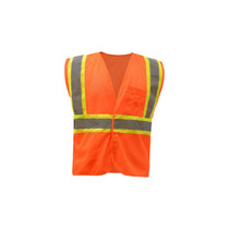 Class 2 Fire Treated Hook & Loop Closure Vest Orange  2 Silver Reflective Tape / contrasting trim NFPA 701 (2004) Treated Fabric One left chest 2-tier & 4-division pocket, one lower right inside w/ reinforced stitching Certification: ANSI/ISEA 107-2015 Type R Class 2 / NFPA 701 (2004)