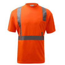 "Class 2 Moisture Control T-Shirt Orange  GSS | OEM Part Number: 5002 Birdseye Breathable and Moisture Wicking Polyester Mesh to Keep Cool 2"" Silver Heat Transfer Reflective Tape 1 Chest Left Front Pocket Certification: ANSI/ISEA 107-2015"