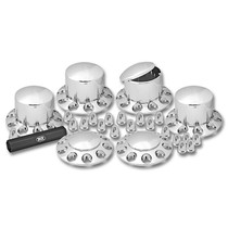 Complete Chrome ABS Plastic 3-Axle Hub & Lug Nut Cover Kit