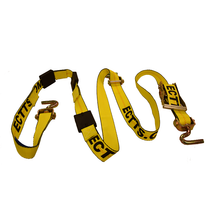 Over the wheel auto tie-down strap. 11' strap w/wide handle ratchet, perpendicular swivel J hooks and tire grippers.