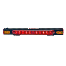 "21"" wireless tow light with additional safety strip. Unit provides wireless stop, tail, and turn signals as well as four additional functions offered from the safety strip on the opposing face (left to right, right to left, center out, and quad-flash strobe pattern)."
