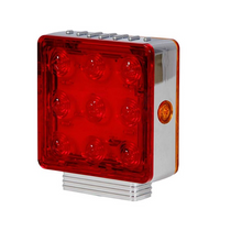 Square Chrome Red Pedestal Light | w/Amber STT, Right Hand Single