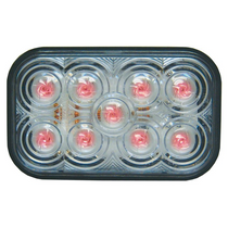 Maxxima - 5 in. Red Rectangular S/T/T Light   Clear Lens, 9 LED
