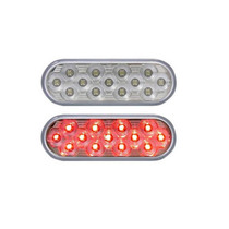 Trux - Red Oval S/T/T Mirror Light | 13 LED, Clear Lens