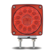 Square Amber/Red S/T/T LED | Double Face, Double Post, Driver's Side
