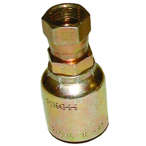Crimp hose fitting with a swivel in order to keep your hoses from curling. Steel made with zinc plating to keep from rusting. 10643-6-6,PAR,Parker